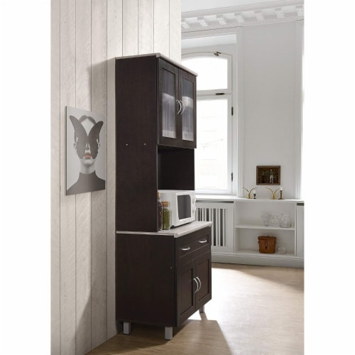 Hodedah Dining Room China Dinnerware Microwave Storage Cabinet, Chocolate Perspective: top