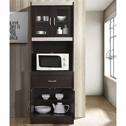 """Hodedah Import 70"""" Tall Top/Bottom Enclosed Kitchen Cabinet w/ Drawer, Chocolate Perspective: top"""
