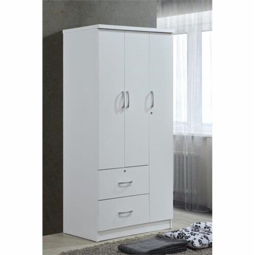 Hodedah 3 Door Armoire with 2 Drawers 3 Shelves in White Wood Perspective: top