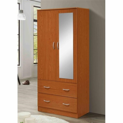 Hodedah 2 Door Armoire with 2 Drawers Clothing Rod and Mirror in Cherry Wood Perspective: top
