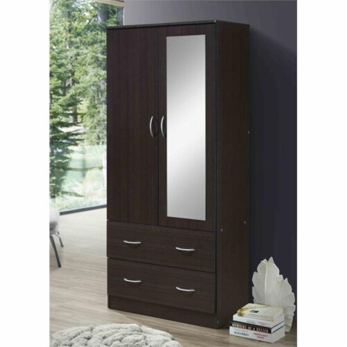 Hodedah 2 Door Armoire with 2 Drawers Clothing Rod and Mirror in Chocolate Wood Perspective: top