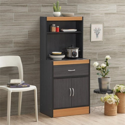 Hodedah 54  Tall Kitchen Cabinet with 1-Drawer in Black-Beech Perspective: top