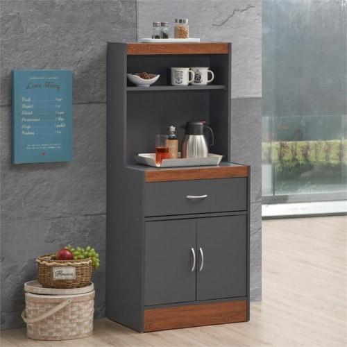 Hodedah 54  Tall Open Shelves 2-Door 1-Drawer Wooden Kitchen Cabinet in Gray-Oak Perspective: top
