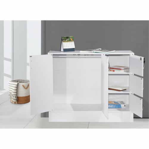 Hodedah Multipurpose Wooden Bookcase with 5-Doors 3-Shelves in White Perspective: top