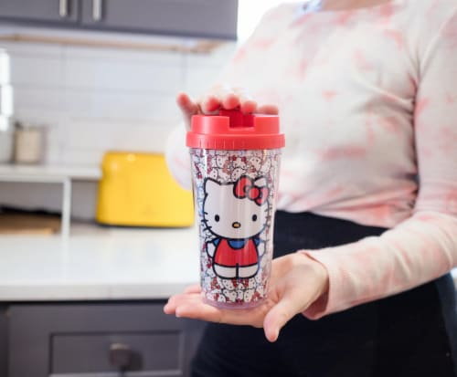Hello Kitty Double Wall Plastic Travel Mug - 16 oz Perspective: top