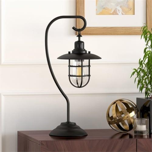 Metal Nautical Lantern Lamp in Black - Henn&Hart Perspective: top