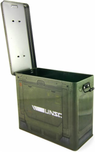 Halo Ammo Crate Tin Lunch Box With Reusable Sandwich Bag Perspective: top