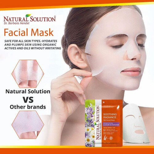 Natural Solution Facial Mask, Blood Orange & Vitamin C, Silk Mask with Pink Salt   Pack of 10 Perspective: top