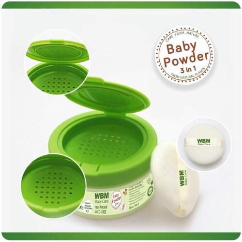WBM Care Baby Powder   3 in 1 Skin Repairing, Nourishing & Drying Natural Powder   4.9 oz Perspective: top