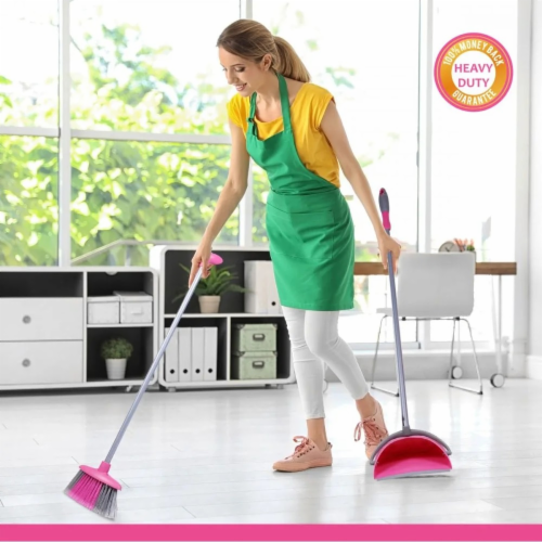 W Home Broom and Dustpan Combo, Heavy-Duty Cleaning, Lightweight Broom with Durable Bristles Perspective: top