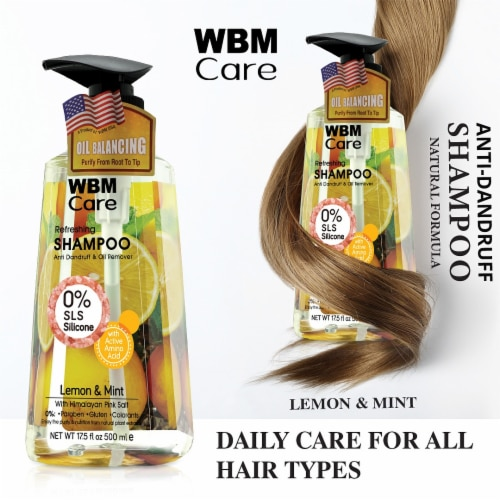 WBM Care Shampoo, Anti-Dandruff and Oil Remover, Lemon and Mint with Pink Salt   17.5 Oz Perspective: top