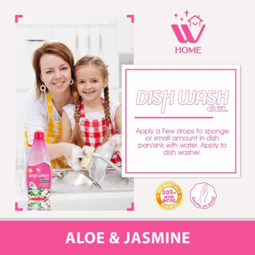 W Home Liquid Dish Soap, Dishwasher Detergent, Aloe & Jasmine | Pack of 3/ 17 Oz Each Perspective: top
