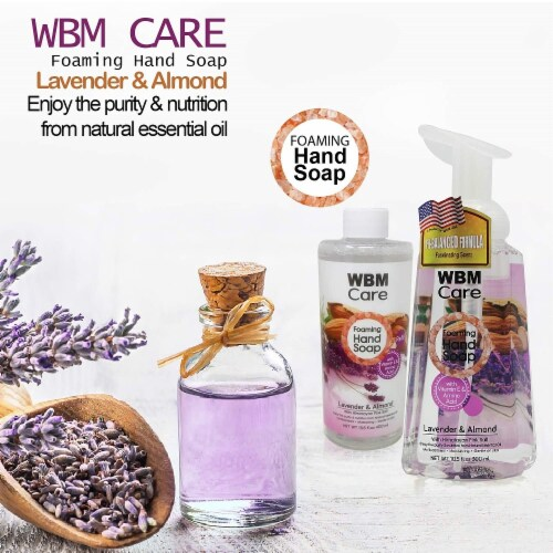 WBM Care Foaming Hand Soap, Liquid Hand Soap Refill with Lavender & Almond Oil, Pack of 3/13. Perspective: top