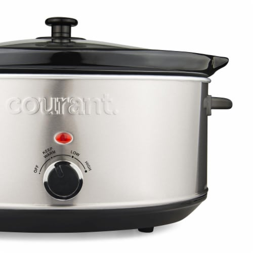 7.0 Quart Oval Slow Cooker, Stainless Steel Perspective: top
