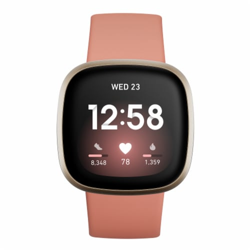 Fitbit Versa 3 - Pink Clay / Soft Gold Perspective: top
