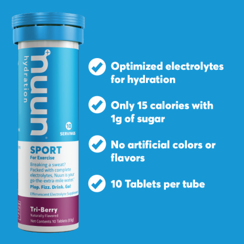 Nuun Hydration Sport Tri-Berry Effervescent Electrolyte Supplement Tablets Perspective: top