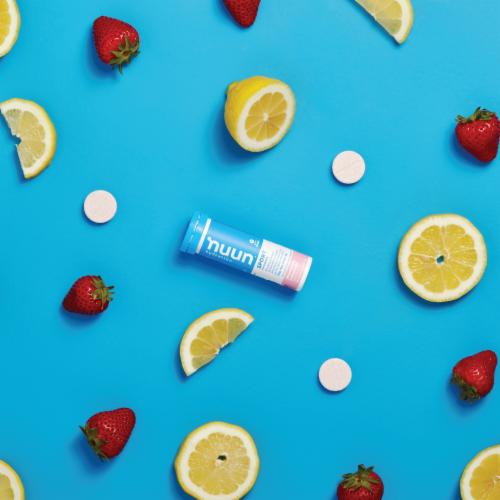 Nuun Hydration Sport Strawberry Lemonade Effervescent Electrolyte Supplement Tablets Perspective: top