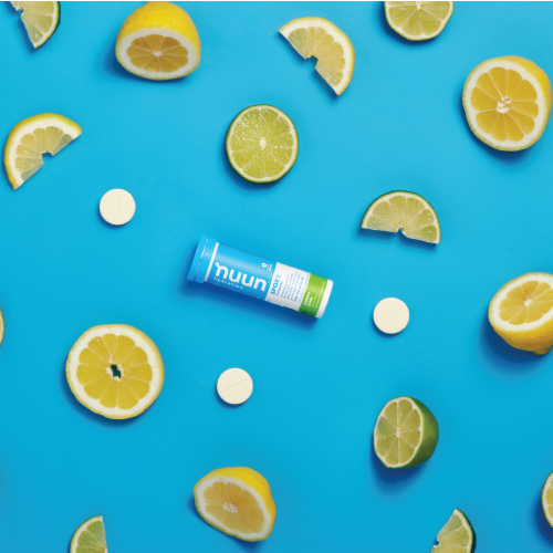 Nuun Hydration Sport Lemon Lime Effervescent Electrolyte Supplement Tablets Perspective: top