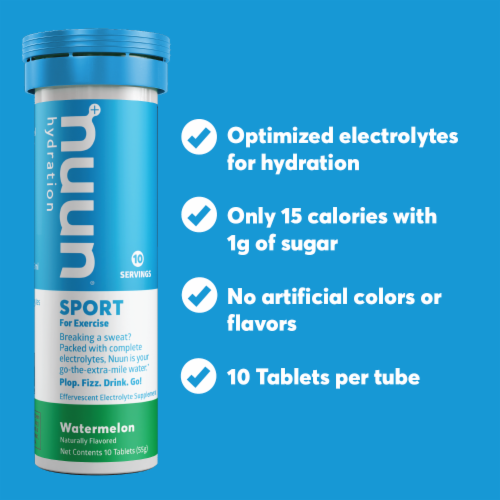 Nuun Hydration Sport Watermelon Effervescent Electrolyte Tablets Perspective: top