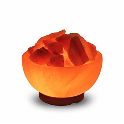 Natural Himalayan Pink Salt Fire Bowl Lamp Perspective: top