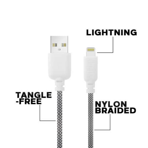 Ihip 6ft Braided Lightning Charging Cable For Iphone Perspective: top