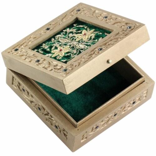 Handmade Mango Wood Jewelry Box With Zari Work On Green Velvet By Benzara Perspective: top