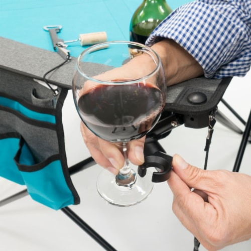 Creative Outdoor Folding Wine Table - Teal/Gray Perspective: top