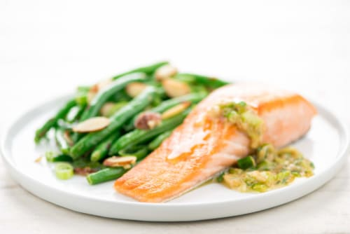 Home Chef Meal Kit Salmon With Miso Butter And Green Beans Amandine Perspective: top