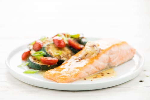 Home Chef Meal Kit Hot Honey Salmon With Zucchini And Tomatoes Perspective: top