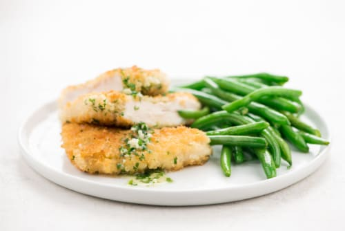 Home Chef Meal Kit Chicken Kiev With Parsley-Garlic Butter And Green Beans Perspective: top