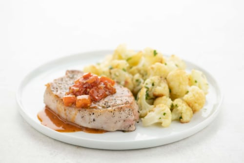 Home Chef Meal Kit Tuscan Pork Chop With Scampi Cauliflower Perspective: top