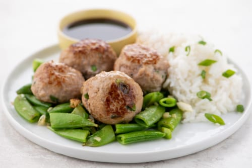 Home Chef Meal Kit Pork Shumai Meatballs With Ponzu Dipping Sauce And Snap Peas Perspective: top
