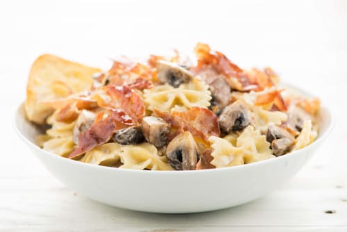 Home Chef Meal Kit Crispy Prosciutto and Mushroom Farfalle Perspective: top