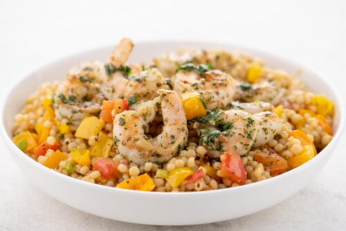 Home Chef Meal Kit Pesto Shrimp Couscous With Parsley And Bell Pepper Perspective: top