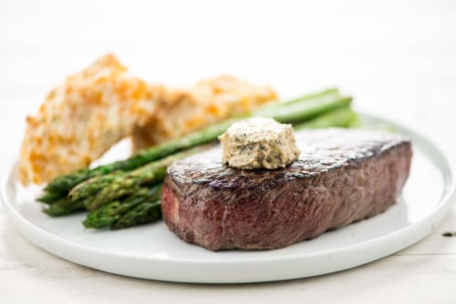 Home Chef Meal Kit Steak With Chimichurri Butter With Asparagus And Garlic Cheddar Biscuits Perspective: top