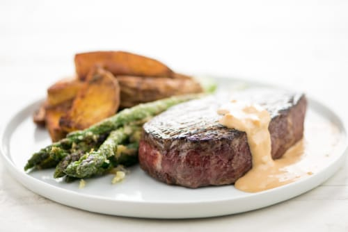 Home Chef Meal Kit Sirloin with Shallot-Dijon Sauce Perspective: top