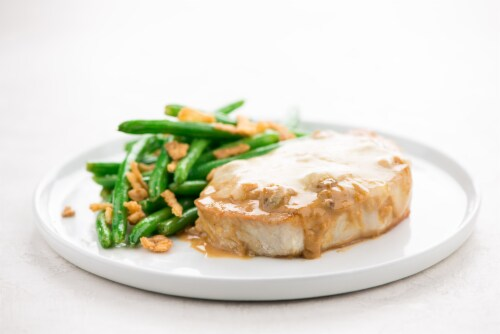 Home Chef Oven Kit Mushroom Smothered Pork Chop with Roasted Green Beans and Crispy Onions Perspective: top
