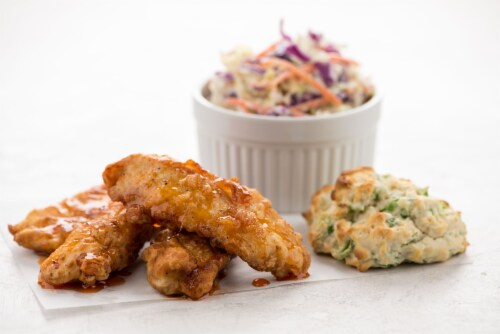 Home Chef Meal Kit Farmhouse Fried Chicken Tenders with Hot Honey Perspective: top