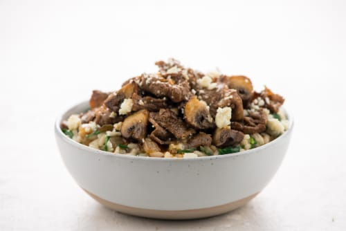 Home Chef Meal Kit Black & Blue Steakhouse Risotto With Mushrooms And Spinach Perspective: top