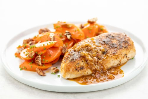Home Chef Meal Kit Herbes De Provence Chicken With Brown Sugar-Glazed Carrots And Pecans Perspective: top