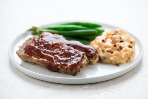 Home Chef Heat & Eat BBQ Meatloaf with Loaded Mashed Potatoes Perspective: top