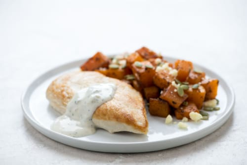 Home Chef Meal Kit Chicken with Hatch Chile Ranch and Pepita Butternut Squash Perspective: top