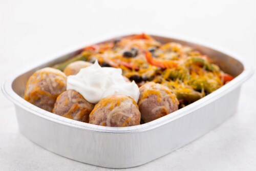 Home Chef Oven Kit Mexican Pork Meatballs With Fajita Veggies And Black Beans Perspective: top
