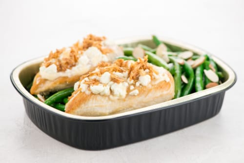Home Chef Oven Kit Goat Cheese-Crusted Chicken With Green Beans and Almonds Perspective: top