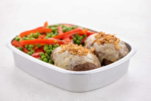 Home Chef Oven Kit French Onion-Crusted Beef Meatloaf With Peas And Peppers Perspective: top