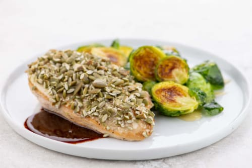 Home Chef Meal Kit Pepita-Crusted Chicken With Chipotle Demi-Glace & Honey Roasted Brussels Sprouts Perspective: top
