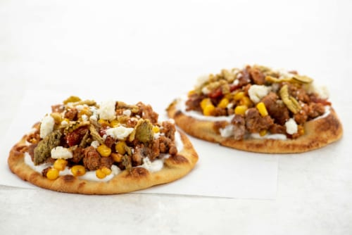 Home Chef Meal Kit Mini Carnitas Flatbreads with Lime Crema and Corn Perspective: top