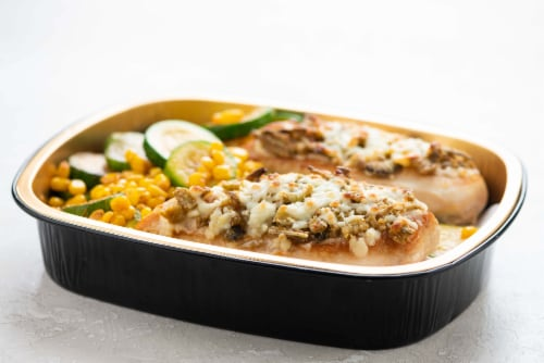 Home Chef Oven Kit Cotija and Jalapeno-Crusted Chicken with Cajun-Style Zucchini and Corn Perspective: top