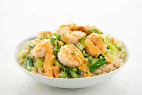 Home Chef Meal Kit Crispy Boom Boom Shrimp Rice Bowl With Edamame and Bok Choy Perspective: top
