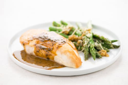 Home Chef Meal Kit Chicken Breast with Garlic Demi-Glace and Parmesan Asparagus Stovetop Cooking Perspective: top